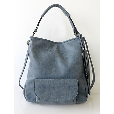 Club Rochelier Saddle Stitch Collection, Denim Blue Hobo with Front Pocket (CRH001-DENIM BL)