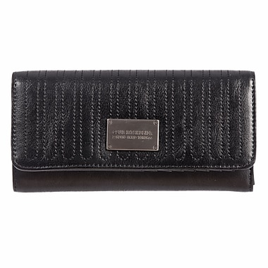 Club Rochelier Glam Detail Collection, Black Clutch Wallet with Chqbook & Gusset (CRW1764-1-BLK)