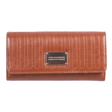 Club Rochelier Glam Detail Collection, Cognac Clutch Wallet with Chqbook & Gusset (CRW1764-1-COG)