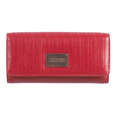 Club Rochelier Glam Detail Collection, Red Clutch Wallet with Chqbook & Gusset (CRW1764-1-RED)