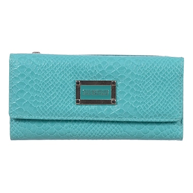 Club Rochelier Kassandra Collection, Turquoise Slim Wallet with Zipper Pocket (DCL7871-S8-TQ)