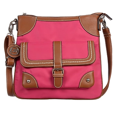 Club Rochelier Kaitlyn Collection, Pink Nylon Crossbody (DFCR509-PINK)