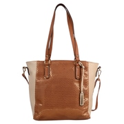 Club Rochelier Elsa Collection, Tan Perforated Two-Tone Tote (DFCR701-TAN)