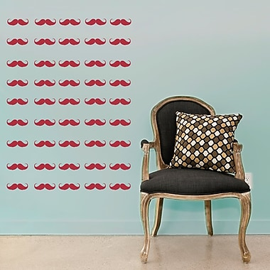 Wallums Wall Decor Mini Mustaches Wall Decal; Red