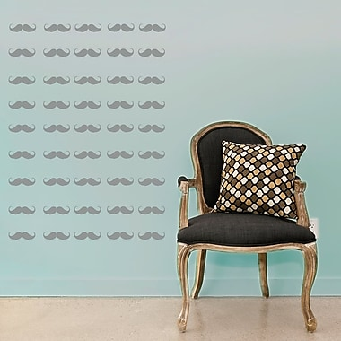 Wallums Wall Decor Mini Mustaches Wall Decal; Silver Metallic
