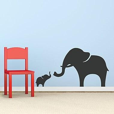 Wallums Wall Decor Mama And Baby Elephant Wall Decal; Black