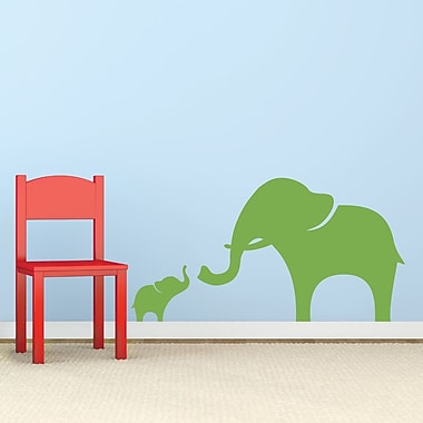 Wallums Wall Decor Mama And Baby Elephant Wall Decal; Lime Green