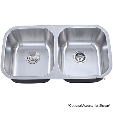 Luxier 32.25'' Undermount 50/50 Equal Double Bowl Stainless Steel Kitchen Sink