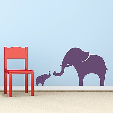 Wallums Wall Decor Mama And Baby Elephant Wall Decal; Violet
