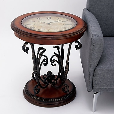 EC World Imports Casa Cortes Round Clock Coffee and End Table
