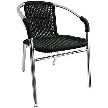 H&D Restaurant Supply, Inc. Stacking Dining Arm Chair; Black