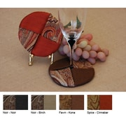 Pacific Table Linens Timeless Paisley Wine Glass Coaster (Set of 2); Noir / Noir