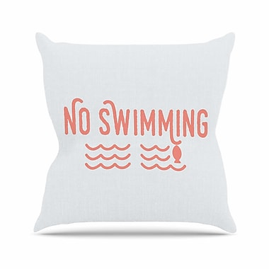 East Urban Home Jackie Rose No Swimming Typography Outdoor Throw Pillow; 16'' H x 16'' W x 5'' D
