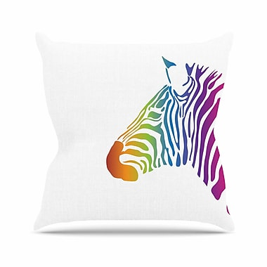 East Urban Home NL designs Rainbow Zebra Animals Outdoor Throw Pillow; 16'' H x 16'' W x 5'' D
