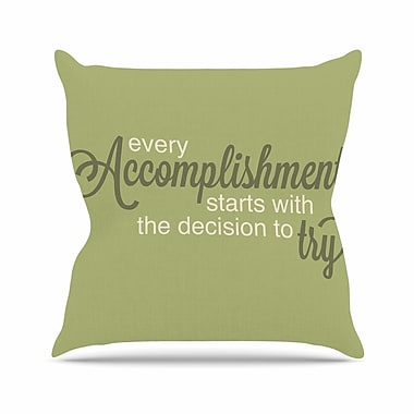 East Urban Home NL designs Accomplishment Typography Outdoor Throw Pillow; 18'' H x 18'' W x 5'' D