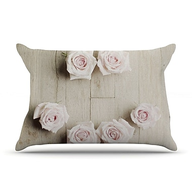 East Urban Home Cristina Mitchell 'Smile' Wood Roses Pillow Case