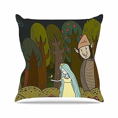 East Urban Home Petit Griffin Enchanted Forest Outdoor Throw Pillow; 18'' H x 18'' W x 5'' D