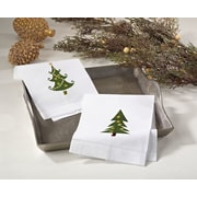 Christmas Tree Embroidery Design Holiday Hemstitched Linen Cotton Guest Hand Towel (Set of 4)