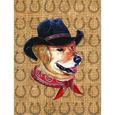 East Urban Home Horseshoe House Vertical Flag; Golden Retrieve