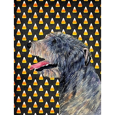 East Urban Home Candy Corn Halloween House Vertical Flag; Irish Wolfhound