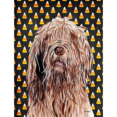 East Urban Home Candy Corn Halloween House Vertical Flag; Otterhound (Brown)