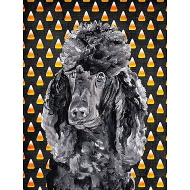 East Urban Home Candy Corn Halloween House Vertical Flag; Poodle (Black)