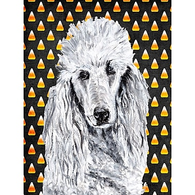 East Urban Home Candy Corn Halloween House Vertical Flag; Poodle (White & Gray)