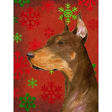 The Holiday Aisle Snowflakes Christmas House Vertical Flag; Doberman 4