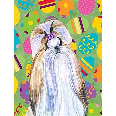 Caroline's Treasures Easter Eggtravaganza House Vertical Flag; Shih Tzu (White & Biege)