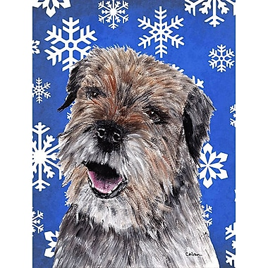 East Urban Home Winter Snowflakes Holiday House Vertical Flag; Border Terrier (Brown)