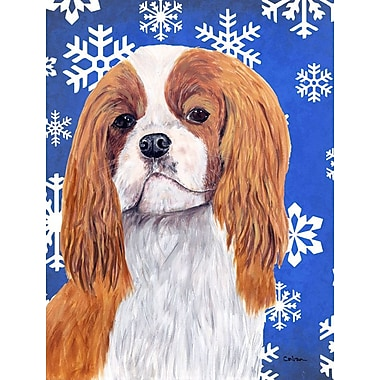 East Urban Home Winter Snowflakes Holiday House Vertical Flag; Cavalier Spaniel (White & Brown)