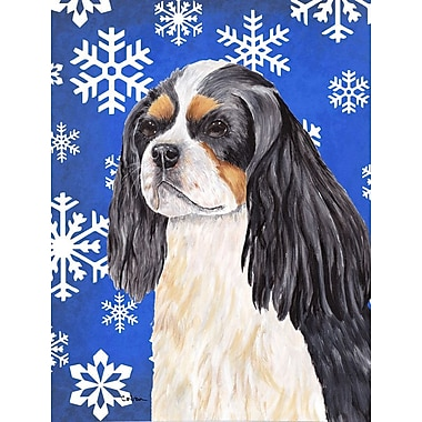 East Urban Home Winter Snowflakes Holiday House Vertical Flag; Cavalier Spaniel (White & Gray)