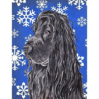 East Urban Home Winter Snowflakes Holiday House Vertical Flag; Cocker Spaniel (Black)