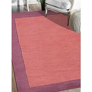 Ebern Designs Ashly Solid Hand-Tufted Orange/Purple Area Rug