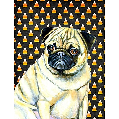 East Urban Home Candy Corn Halloween 2-Sided Garden Flag; Pug (Beige and White)