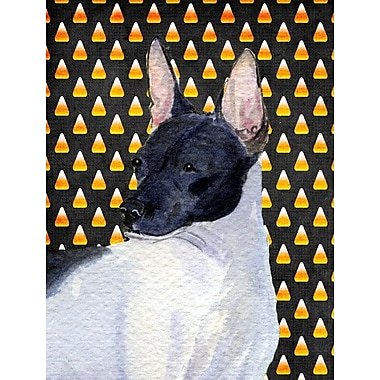 East Urban Home Candy Corn Halloween 2-Sided Garden Flag; Rat Terrier