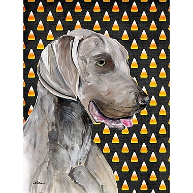 East Urban Home Candy Corn Halloween 2-Sided Garden Flag; Weimaraner (Grey and Black)