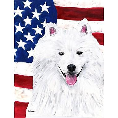 Caroline's Treasures American Flag 2-Sided Garden Flag; American Eskimo