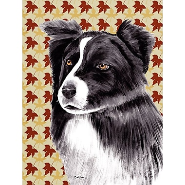 Caroline's Treasures Fall Leaves 2-Sided Garden Flag; Border Collie