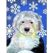 East Urban Home Winter Snowflakes Holiday 2-Sided Garden Flag; English Sheepdog