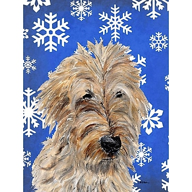 East Urban Home Winter Snowflakes Holiday 2-Sided Garden Flag; Golden Doodle 2