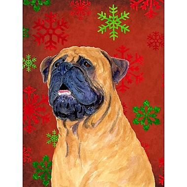 Caroline's Treasures Red and Green Snowflakes Holiday Christmas 2-Sided Garden Flag; Mastiff 2