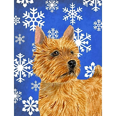 East Urban Home Winter Snowflakes Holiday 2-Sided Garden Flag; Norwich Terrier (Orange)