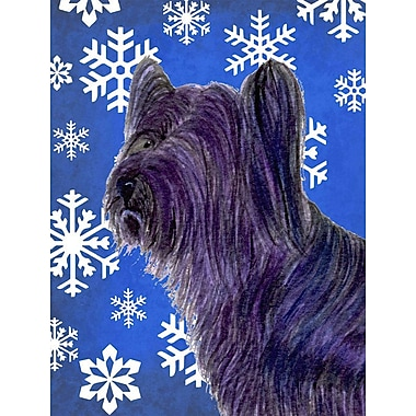 East Urban Home Winter Snowflakes Holiday 2-Sided Garden Flag; Skye Terrier