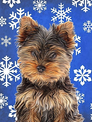 East Urban Home Winter Snowflakes Holiday 2-Sided Garden Flag; Yorkie 3