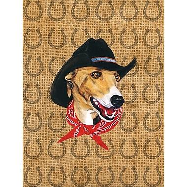 Caroline's Treasures Dog Country Lucky Horseshoe 2-Sided Garden Flag; Greyhound