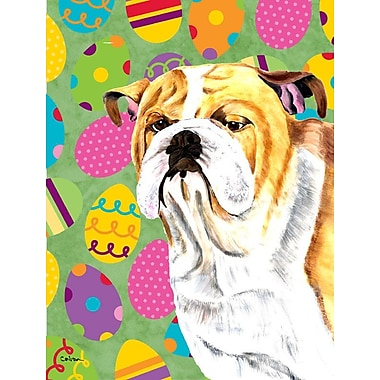 Caroline's Treasures Easter Eggtravaganza 2-Sided Garden Flag; Bulldog (Yellow and White)