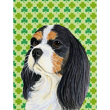 East Urban Home St. Patrick's Day Shamrock 2-Sided Garden Flag; Cavalier Spaniel (Black and White)