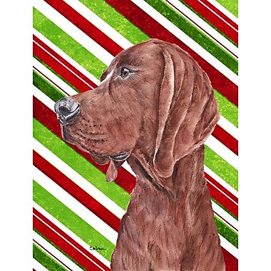 Caroline's Treasures Candy Cane Christmas House Vertical Flag; Coonhound (Brown )