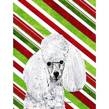 Caroline's Treasures Candy Cane Christmas 2-Sided Garden Flag; Poodle (White )
